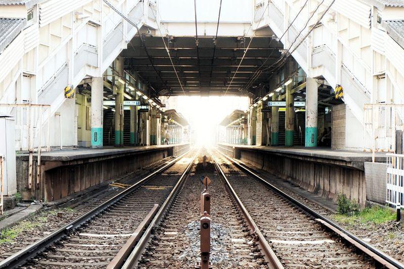 Railroad tracks in train