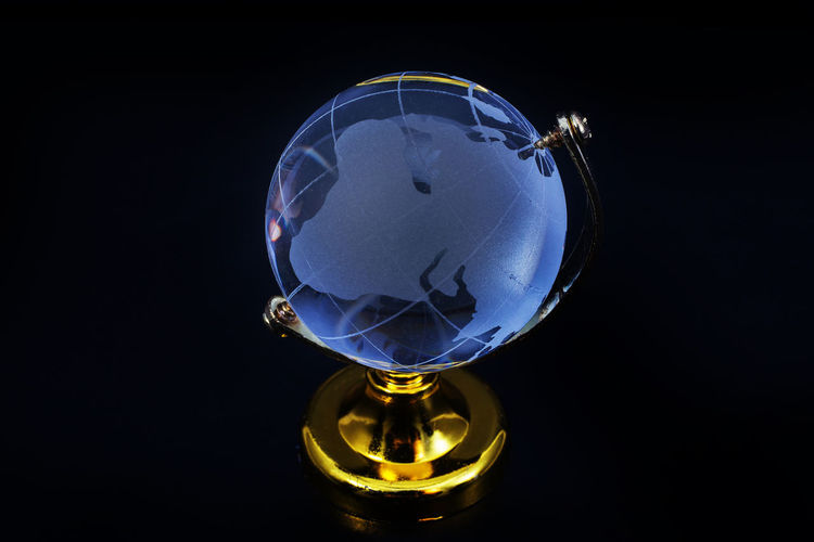 Black Background Close-up Crystal Ball Fortune Telling No People Planet Earth Studio Shot World
