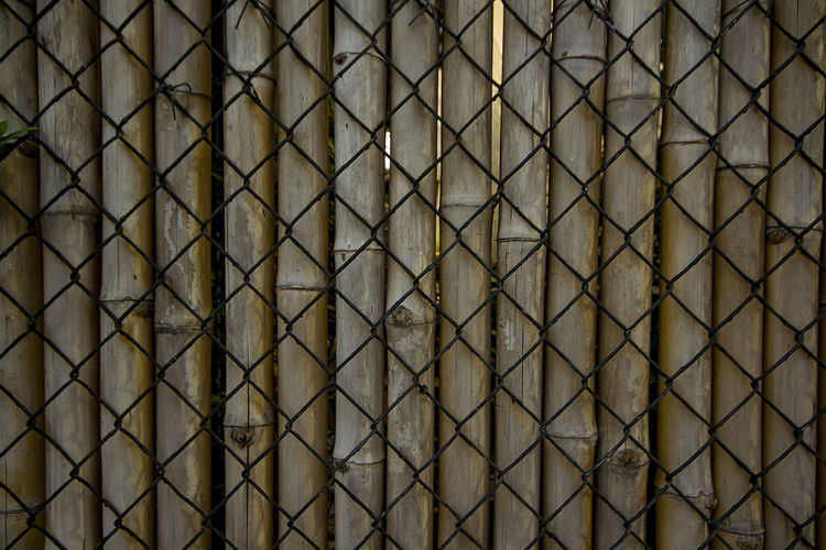Wire mesh, bamboo used to make fences. Bamboo Fences Wire Mesh Architecture Backgrounds Bamboo Fence Barrier Boundary Built Structure Close-up Design Fence Full Frame Indoors  Metal No People Pattern Protection Repetition Security Textured  Wire Mesh Wire Mesh Background Wire Mesh Fence Wire Mesh Sculpture Wire Meshes
