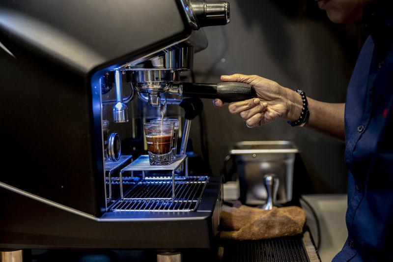Man preparing food in coffee