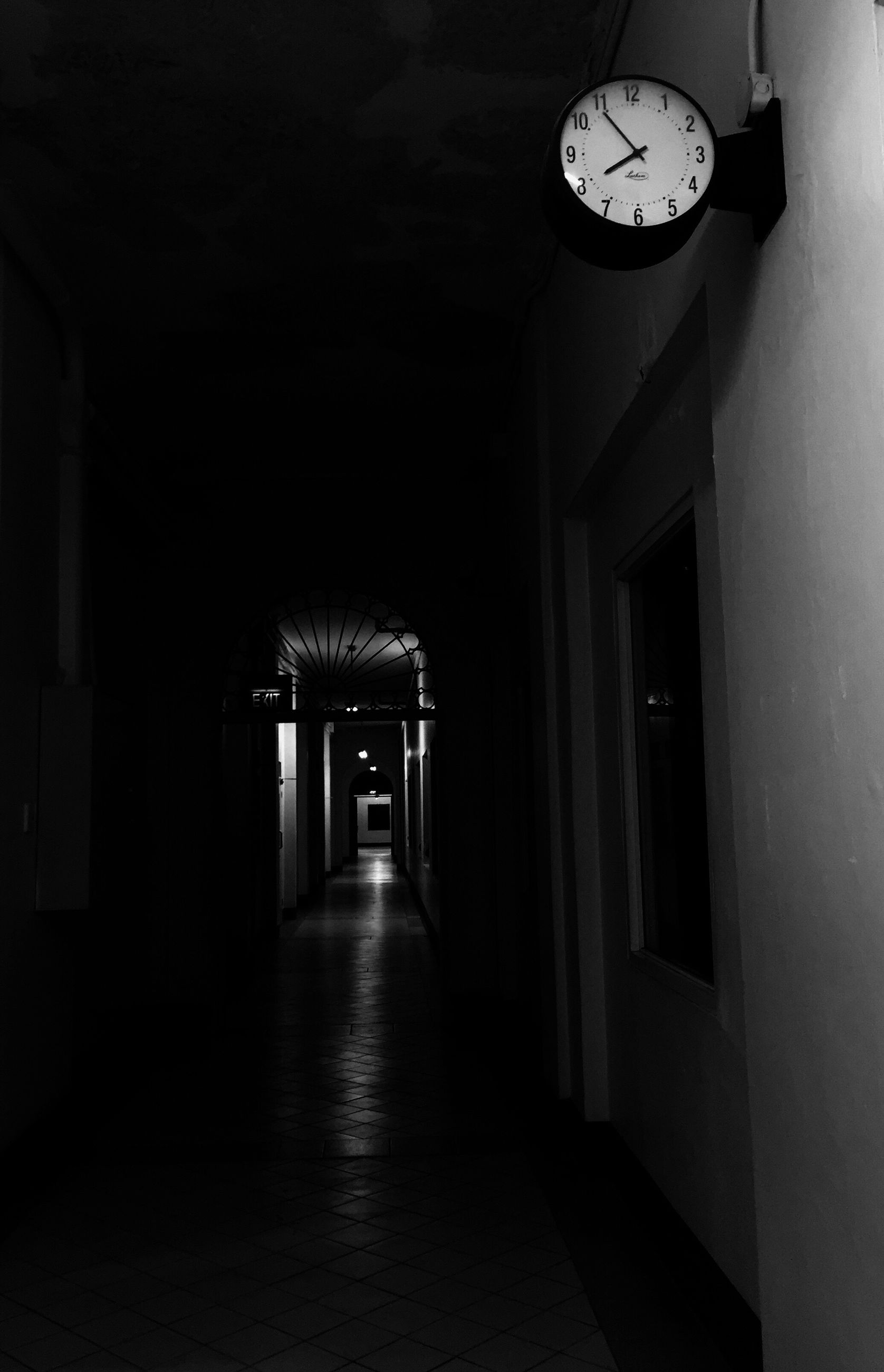 DLSU Clock Philippines Dark Evening Hallway Black And White