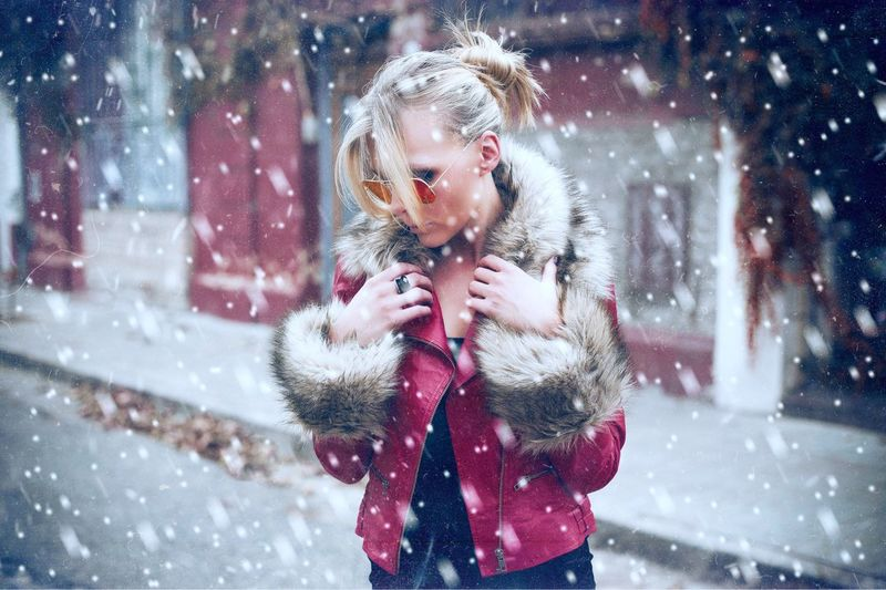 Missing the snow Winter Warm Clothing Cold Temperature Fur Snow Beautiful Woman Beautiful People Adult Snowing Fur Coat City Life Beauty Blond Hair People City Winter Coat Christmas Young Adult