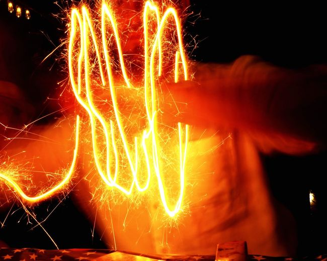 Creating a light Portal Motion Night Long Exposure Glowing Illuminated Blurred Motion Arts Culture And Entertainment Firework One Person Event Human Hand Orange Color Sparks Firework - Man Made Object Hand Light Burning Celebration HUAWEI Photo Award: After Dark
