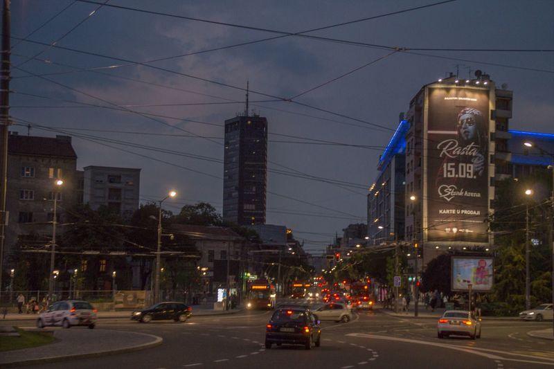 Night mood on Slavija square in Belgrade, Serbia Buildings Architecture Street Road Night City Illuminated Street Lights Traffic Belgrade