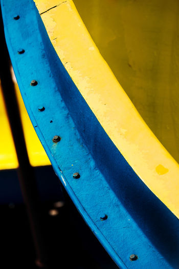 Abstract Art Background Color Background Texture Colorful Slides Primary Colours Industry Metal Complimentary Yellow Complimentary Colour No People Colour Of Life Day Outdoors Transportation Backgrounds Blue Art Is Everywhere Paint The Town Yellow