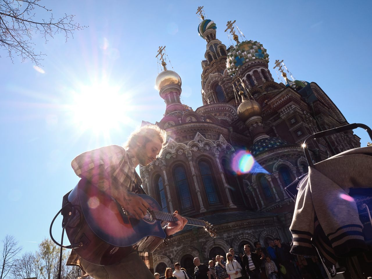 Low angle view of musician in russia