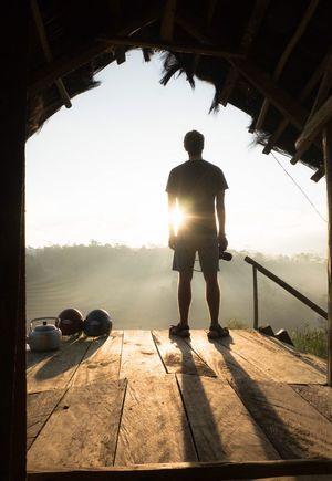 first tea in the morning Joy Of Life Shadow Adventure Motorbike Trip Journey First Sunlight Tea Pot Photographer INDONESIA Sunrise One Person Outdoors The Traveler - 2018 EyeEm Awards The Traveler - 2018 EyeEm Awards