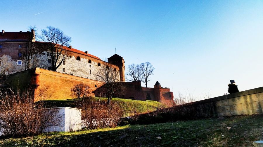 Low Angle View Of Wawel Castle Against Clear Sky