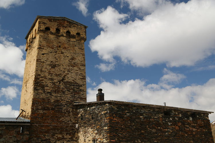 Architecture Built Structure Building Exterior Sky History Building Cloud - Sky The Past Low Angle View Old Wall Day Nature Tower No People Fort Stone Wall Castle Ancient Outdoors Brick Georgia Mestia/town In Svaneti/Georgia