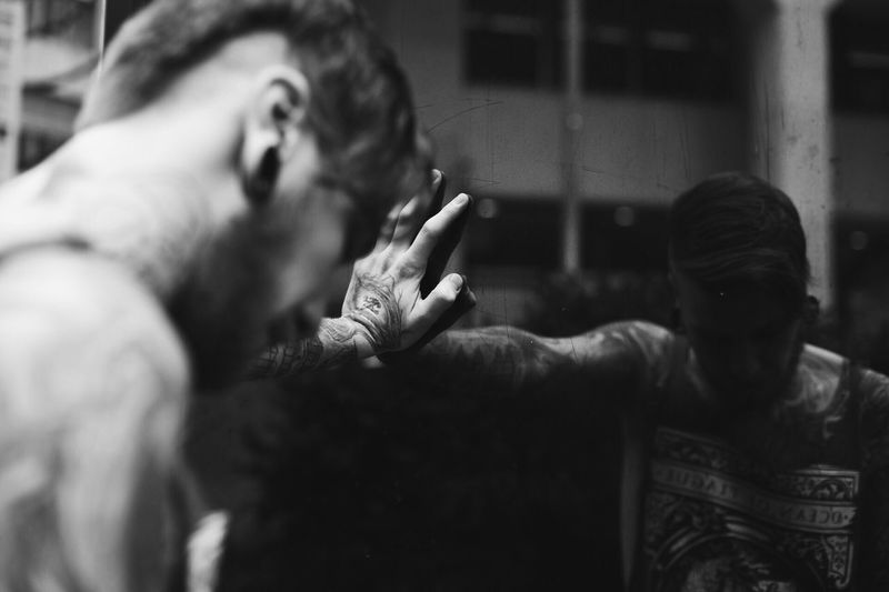 Valentin! Human Hand Tattoo Mirror Reflection Mirror Emotion Young Man Tatooedboys EyeEmNewHere