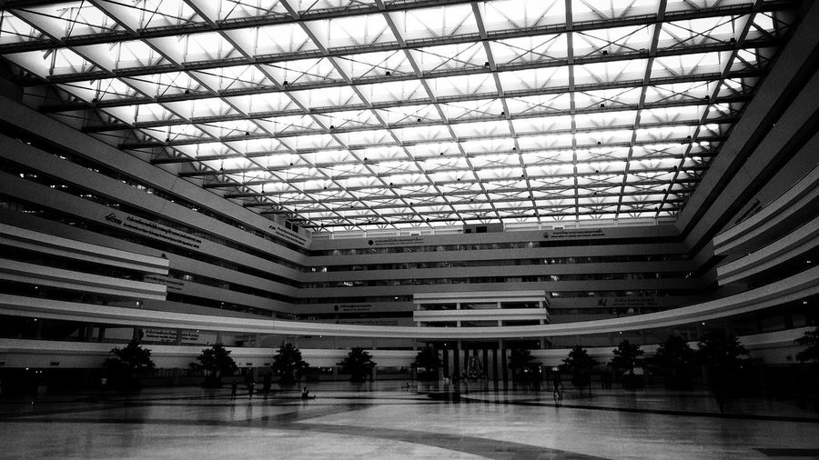 The hall at the immigration center in Chaengwatana Hall Large Immigration Thailand Bangkok Chaeng Wattana Ceiling Indoors  Built Structure Architecture Modern Blackandwhite First Eyeem Photo