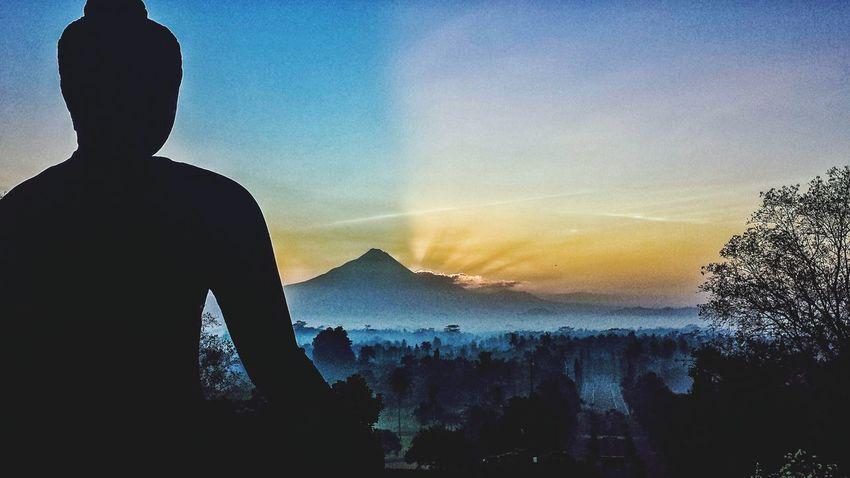 Borobudur INDONESIA Buddha Statue Sunrise Buddhism Buddhist Stupa Temple Volcano Mountain Dawn Morning Merapi Landscape Hillside Outdoors ASIA Southeast Asia Sunshine Jungle