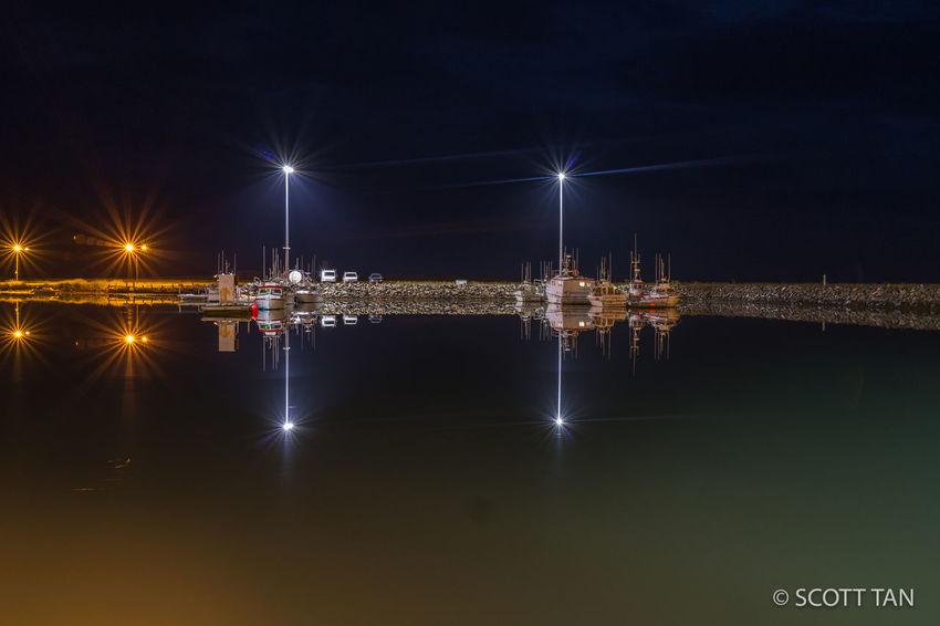 City Dark Höfn Iceland Illuminated Long Exposure Night Pier Reflction Tranquility Travel Destinations Water