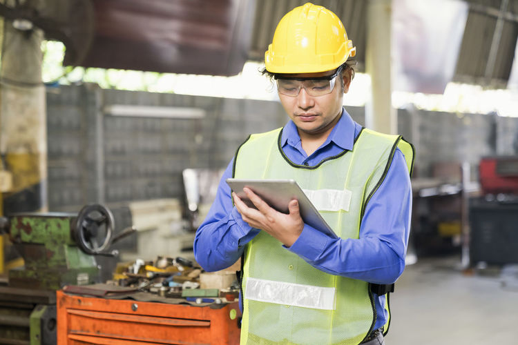 Man working with mobile phone