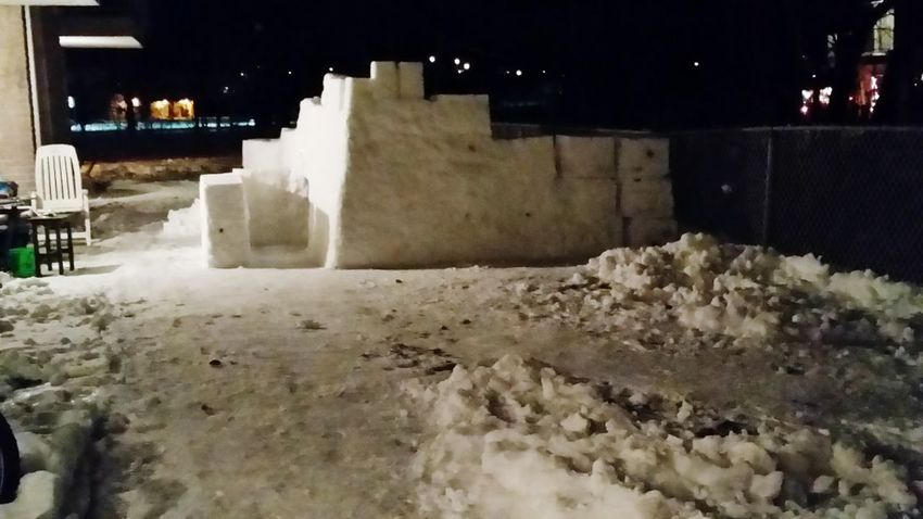 Hello World Winter Terrebonne Quebec Taking Photos building a snow castle for the Kids !
