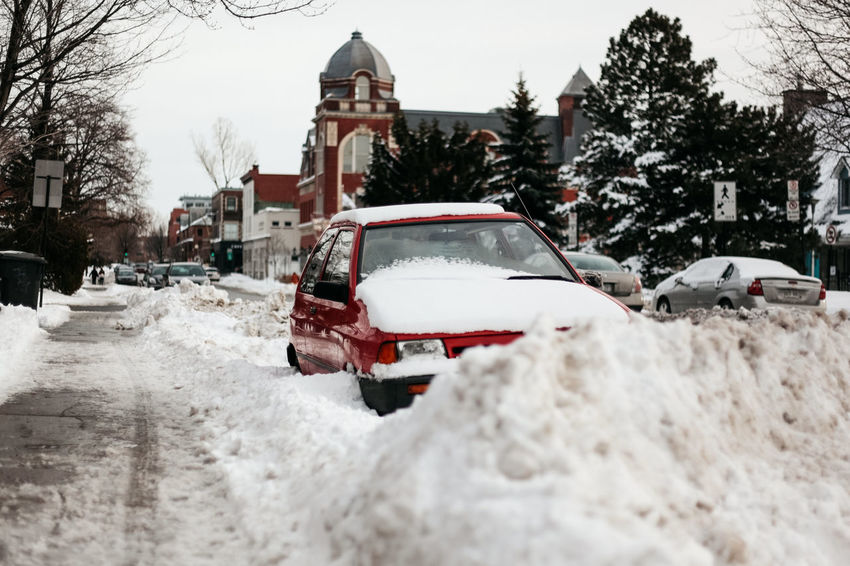 Car City Cold Temperature Day Deep Snow Digging Frozen Ice Ice Hockey Ice Rink Land Vehicle Nature No People Outdoors Snow Snowflake Snowing Stationary Tree Winter Winter Sport