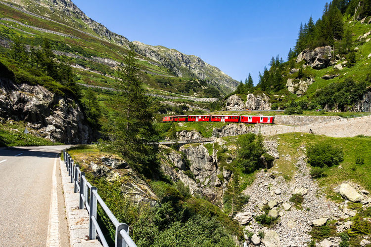 Typical Swiss touristic red train climbing up the Furka railway, Switzerland Swiss Swiss Alps Switzerland Switzerland Alps Valais Grimsel Grimselpass Swiss Train Transportation Mountain Plant Nature Tree Day Mode Of Transportation Road No People Scenics - Nature Beauty In Nature Sunlight Direction Rail Transportation Green Color Non-urban Scene Sky Built Structure Architecture Land Mountain Range Outdoors Track