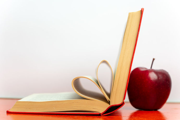 open book and red apple Symbol Symbolism Minimalism Simplicity School Book Red Apple Wisdom Learning Leisure Red Color Isolated