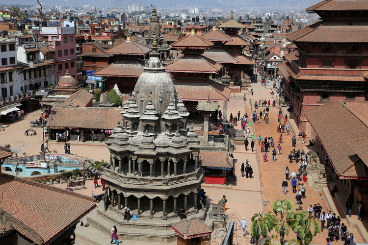 High angle view of buddhist temple at durbar square