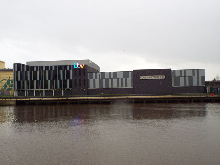 ITV Television Studios Coronation Street studio building Media City Salford Salford Quays Salford United Kingdom Manchester Ship Canal Water Reflections