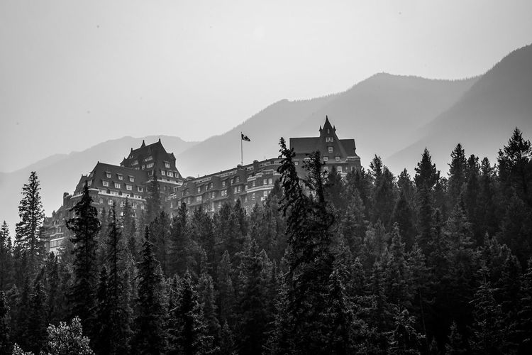 Fairmont Hotel at Banff Blackandwhite Monochrome Country Clouds Mountain Forest Rockies Water Tree Spraying Mountain Silhouette Motion Forest Sky Pine Woodland Evergreen Tree