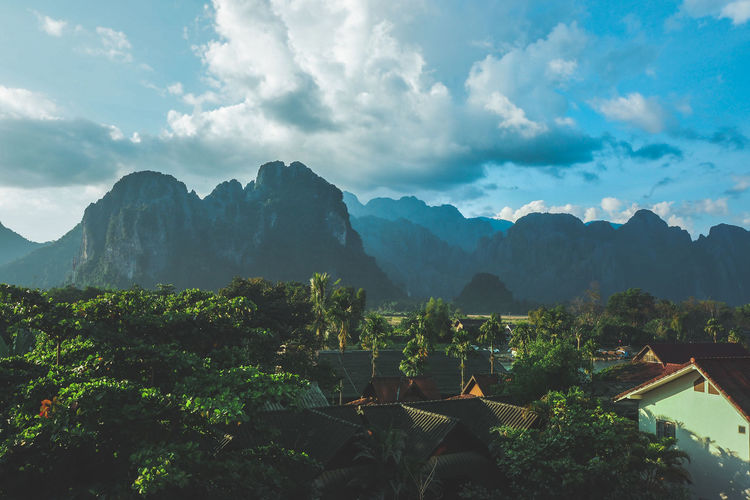 Beautiful sight from the hotel's balcony in Vang Vieng, Laos. Mountain Landscape Forest Nature Tree Travel Cloud - Sky Mountain Peak Outdoors Scenics Beauty In Nature Social Issues Laos Laos Travel Laos 2016 Vangvieng Vacations Beauty In Nature Adventure