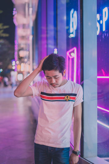 Pink Blue Neon Blue Color Standing Hairstyle Pink Color Purple Young Adult Happiness Lifestyles Real People One Person Portrait Man