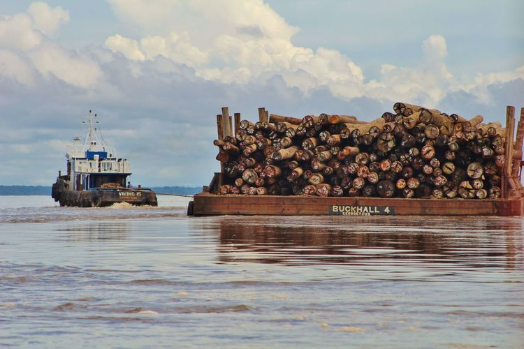 Transporting Lumber Lumber Wood Logs Markings Construction Tugboat River Essequibo River Guyana Southamerican Waves Life Low Angle View Viewfromthewater Brown Barge Guyaneselifestyle Sea Nautical Vessel Beach Ship Water Harbor No People Outdoors Sky Day Oil Pump Nature An Eye For Travel