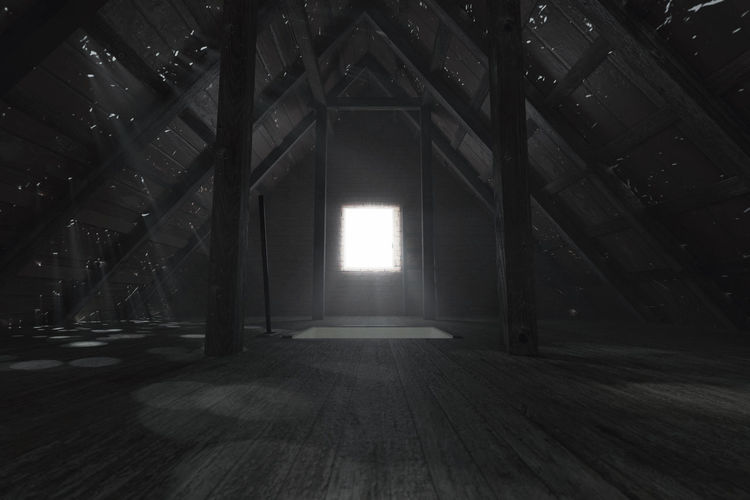 darken empty attic with light rays through holes in the roof Holes Attic Light Rays Roof Wooden Empty Architecture Indoors  Flooring Window Sunlight Abandoned Wood Planks Aged Built Structure Bright Dark Abstract Mysterious Perspective