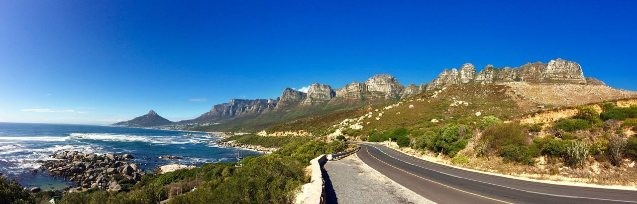 Afrika Blue Clear Sky Empty Mountain Ocean View Oceanside Road Road Marking Sea South Africa The Way Forward Tourism Travel Destinations Twelveapostles Water