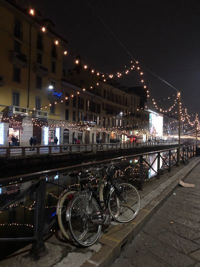 Navigli Milan Bicycle Transportation Architecture Built Structure Mode Of Transport Night Building Exterior Illuminated City Sky Outdoors No People Water Land Vehicle Bridge - Man Made Structure Stationary
