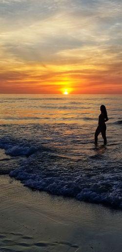 Water Sea Full Length Sunset Beach Silhouette Sand Wave Sky Horizon Over Water