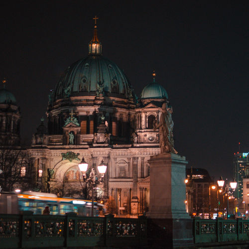 Berlin Berlin Photography Architecture Belief Building Building Exterior Built Structure City Dome Domestic Animals Illuminated Night No People Place Of Worship Religion Sky Spirituality Tourism Travel Travel Destinations