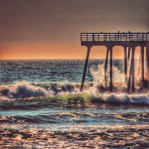 Pismo beach Pier Sea Horizon Over Water Sunset Water Nature Beauty In Nature Scenics Orange Color Sky Beach Tranquil Scene Wave Tranquility Outdoors Silhouette No People California Pismo Beach Beachphotography Summer Built Structure Clear Sky Day
