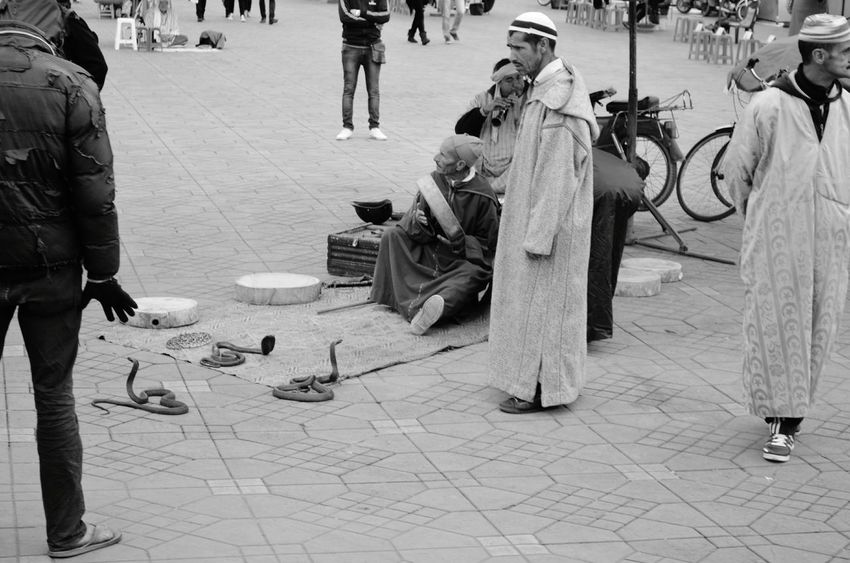 snake charmer marrakech سبحانك ربي الحمد لله Snake Charmer Marrakech Morroco Great Morocco Snakes Blackandwhite Men Arts Culture And Entertainment People Only Men Adult Adults Only Real People
