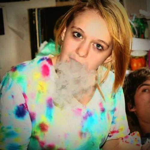 Young Women Indoors  Young Adult Smoke Tyedye Blonde Girl Blonde Hair Blue Eyes.