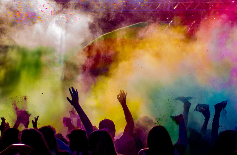 Group Of People At Music Festival Amidst Powder Paint