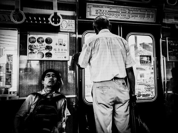 sleep & standing Blackandwhite Monochrome In Train Sleep Standing Life