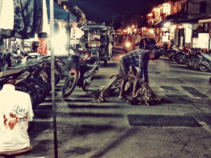 Night Street Old City Laos Olympuspenf Luang Prabang Street Photography Colour Photography Illuminted Transportation Architecture City Built Structure Adventures In The City Street Night