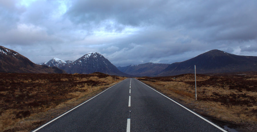 Cloud Cloud - Sky Empty Road James Bond Landscape Mountain Mountain Range Mountain Road Remote Road Marking Scotland Scottish Highlands Skyfall Tranquility Vanishing Point On The Way