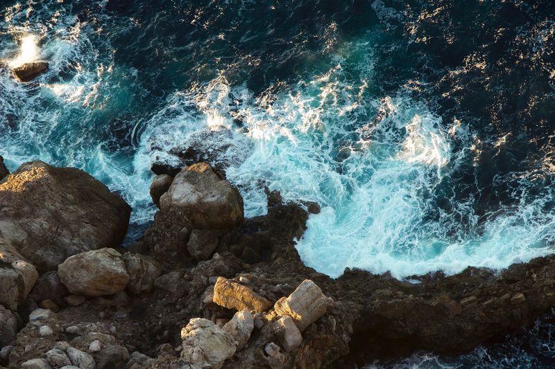 View Of Rocks At Sea Shore