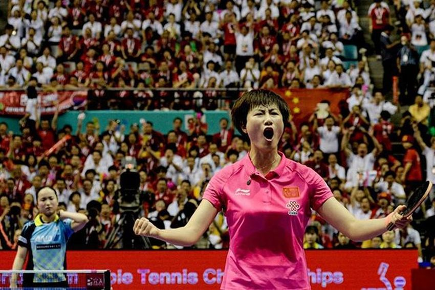 player from China Ding Ning celebrates after defeating of the player from Japan Mima Ito in the final in Perfect World Team Table Tennis Championship Vscocam VSCO Vscomalaysia Amalaysianphoto Mshjournal WTTC