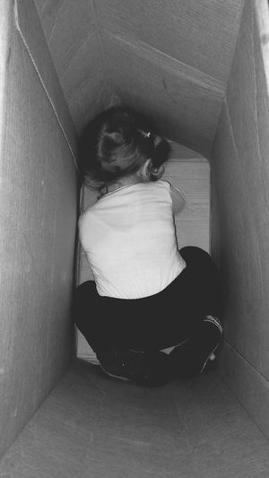 Childhood Child In A Box Inocence  Little Girl Black And White Photography