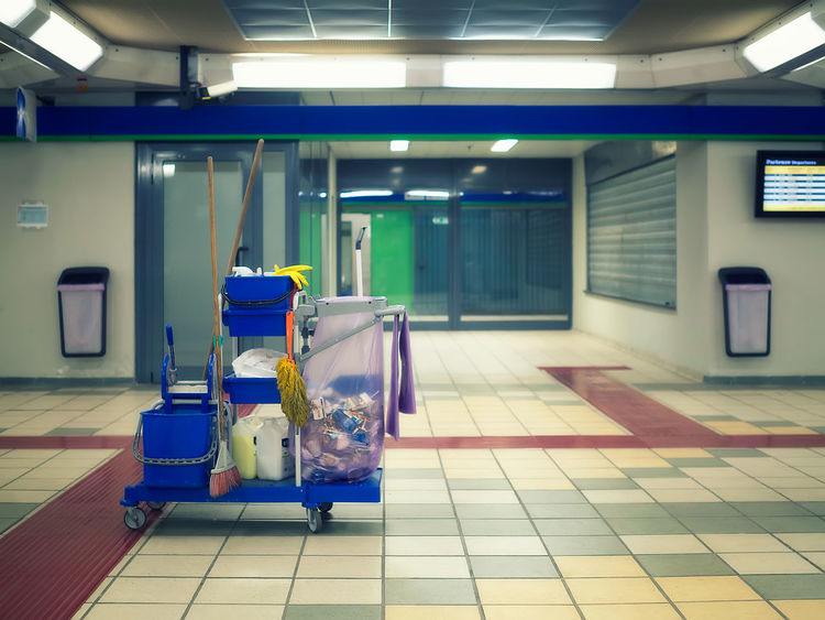 Waiting Architecture Blind Blur Background Broom Bucket Cart Clean Cleaning Cleaning Cart Departures Dusting Düster Floor Garbage Bag Garbage Pail Neon No People Public Area Room Rubber Gloves Station Architecture Subway Station Tiles Trash Wash
