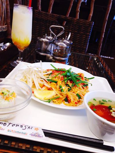 Thai and Indian Ethnic Restaurant Dip Palace Sprouts Shrimps Egg Chinese Chives Vietnam Salad Roll Soup Mango Lassi Noodle in Iidabashi , Sakura Terrace Today's Lunch