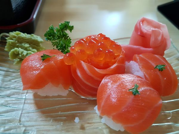 Food And Drink Food Indoors  Freshness Healthy Eating No People Ready-to-eat Close-up Day Salmon Seafood Asian Meal Bowl Japanese Food Food Styling Food Design High Angle View Caviar Ikura Caviar Salmon - Seafood Freshness Indoors