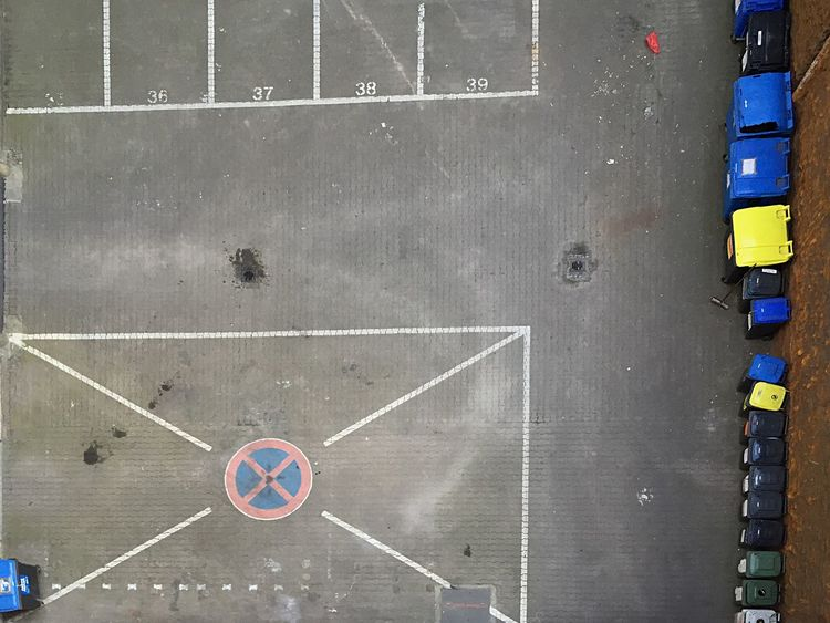 Parking Lot Trash Drone  Air Floor Outdoor No Parking Birds Eye View Container