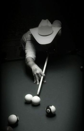 Pool Table Pool Billard Cowboy Hat Man Low Light Pool Stick Shooting Pool Cellulography Phone Photography