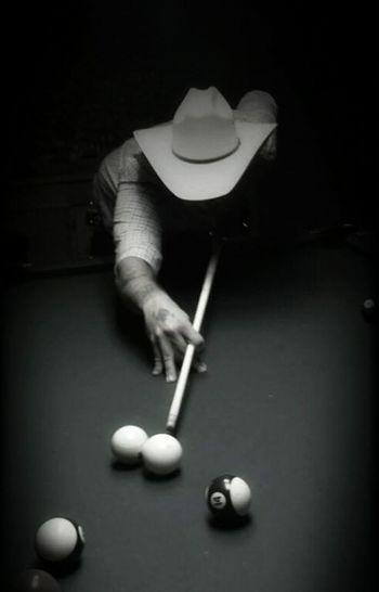 Pool Table Pool Billard Cowboy Hat Man Low Light Pool Stick Shooting Pool Cellulography Phone Photography