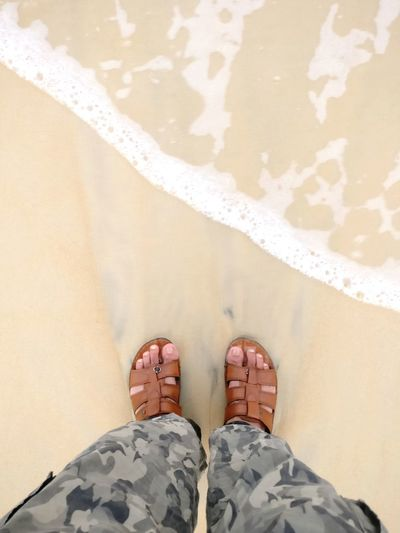 Beach time. Foam Camouflage Clothing Sandy Beach Holidays Vacation Travel Leisure Beach Time Beach Day Beach View Wash Splash Legs View From Above Waterfront Pants Low Section Water Beach Standing Sea Human Leg Sand Shoe Red Men Flip-flop Slipper  Footwear Rushing Wave Foot Personal Perspective Human Feet Pair
